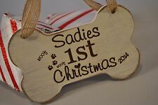 Wood Ornament {Puppys First Christmas} {Personalized & Handmade}