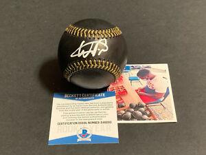 Wander Franco Tampa Bay Rays Auto Signed MLB Black Baseball Beckett Rookie COA