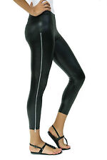Indero Black Shinny Faux Leather Zipper Leggings - JF538 - Size Large - XL