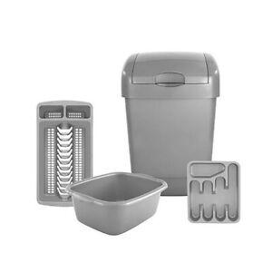 4 Piece Essential Home Kitchen Set Bin, Bowl, Drainer &  Cutlery Tray - Grey