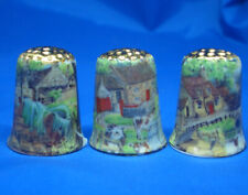 Birchcroft Thimbles -- Set of Three  -- Gold Top Farmyard Scenes
