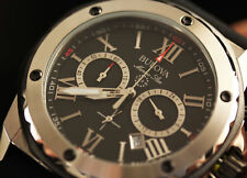 Bulova Men's Marine Star Japanese Chronograph Black Rubber Band Watch 98B127