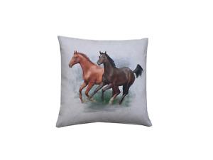 Handmade Wild Horses digital Print water colour linen look fabric cushion cover