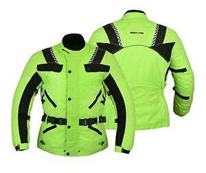 Motero Men Motorcycle Bikers CE Armoured High Visibility Cordura Jacket HI VIZ