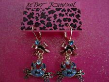 Betsey Johnson Blue Crab W Bows Dangle Earrings