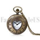 Men Women Retro Vintage Hollow Heart Steampunk Quartz Pocket Fob Watch Chain New