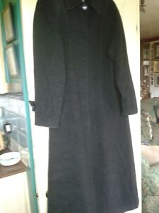 VGC QUALITY LADIES LONG TALL SALLY SIZE 12 WOOL & CASHMERE FULL LENGTH COAT GREY