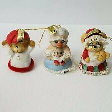 Lot Of 3 Vtg Jasco Caring Critter Chimers Christmas Bells Ornaments Bears & Duck