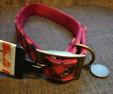 Red tartan checked plaid dog collar with velvet lining & bronze tag.Large 20-24""
