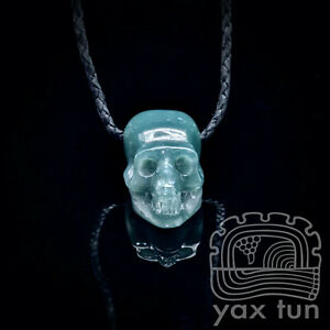 Blue Skull Pendant - Guatemalan Jadeite Carved Cranium on Leather Cord - BSP002