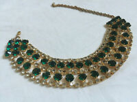 VINTAGE Sparkling Emerald Green Glass Clear Rhinestone Diamante Necklace Choker