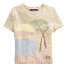 $950 Ralph Lauren Collection Purple Label Beach Cashmere Linen Knit Crew Sweater