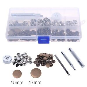 50X Heavy Duty Snap Fasteners Sewing Clothing15/17mm Press Studs Kit Buttons UK