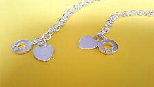NEW - .925 Sterling Silver Heart Tag Toggle Necklace & Bracelet Set (Lifesaver)