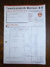 alte Rechnung Tonofenfabrik Wallner Tirschenreuth 1935 A4