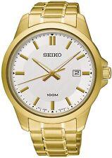 Seiko SUR248P1 Reloj Brazalete Clásico oro plateado fecha WR 100 M 2Yr Guar RRP £ 239