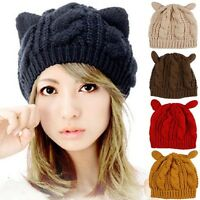 Lovely Women's Cat Ear Winter Beanie Crochet Braided Knitted Ski Caps Solid Hats