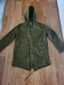 Topshop Topman Olive Green Parka Jacket Coat Size Medium