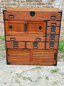 Japanese Meji Antique chest Tansu cabinet with iron work Ishyo Dansu Victorian
