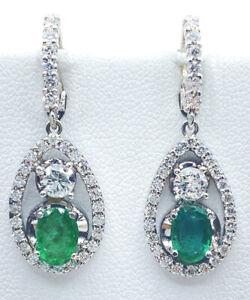 3.18 ct NATURAL DIAMOND & columbian EMERALD dangle earrings 14k white gold VIDEO