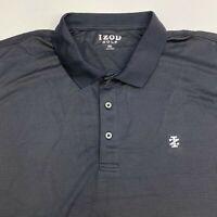 Izod Golf Polo Shirt Mens 2XL XXL Short Sleeve Black Chest Logo Casual Polyester
