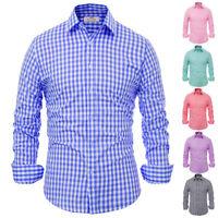 Luxury Shirts Fashion Men Casual Plaid Slim Fit Long Sleeve Shirts Dress Shirts