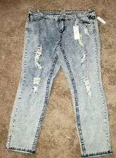 Almost Famous Acid Wash Jeans Size 20 Destroyed Nwt