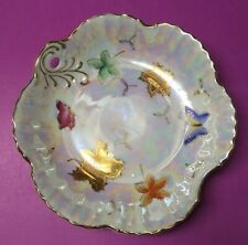 Vtg Lipper & Mann Lusterware Dish Bowl Butterflies & Leaves Gold Trim Iridescent