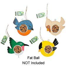 Wooden Bird Shaped Hanging Fatball / Fruit Bird Feeder - Choose Design