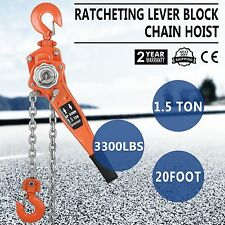 1-1/2TON 20FT RATCHETING LEVER BLOCK CHAIN HOIST COME ALONG PULLER PULLEY New