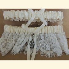 Two Trails Become One Road Two Part Western Wedding Garter, White or Ivory