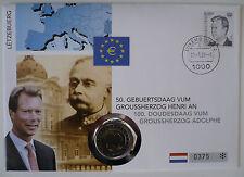 Numisbrief 2 Euro Gedenkmünze, Luxemburg 2005, 50. Geburtstag Großherzog Henri