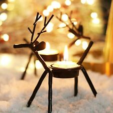 2 x Reindeer Tealight Holder With Tealights Christmas Decoration
