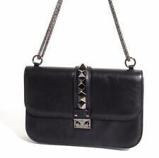 VALENTINO Rockstud Glam Rock Black Leather Gunmetal Studded Flap Bag Handbag
