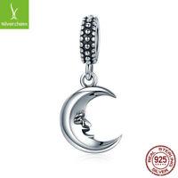 Love Moon Smile Face Hanging Charm fit 925 sterling Original Bracelets & Bangles