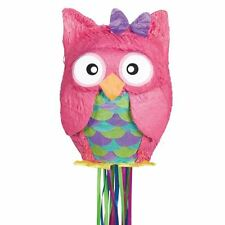 Pink Owl Pull String Pinata Bird Animal Party Game Decoration 45cm