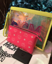 Authentic MCM Medium Lucent Yellow Clutch Wristlet Bag Wallet NEW + Pink Pouch