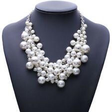 Pearl Chunky Statement Choker Bib Collar Necklace Chain