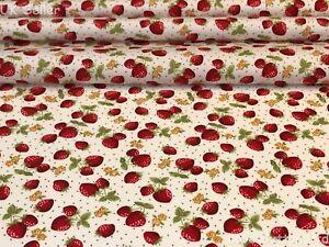 ROSE & HUBBLE STRAWBERRIES PRINT IVORY FABRIC 100% COTTON 112cm WIDE HALF METRE
