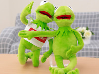 """Kermit Sesame Street Muppets Kermit the Frog Toy Stuffed plush 16"""" with cloth"""