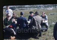 1950s red border Kodachrome photo slide  air force picnic Greenland beer cans