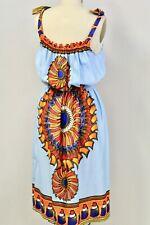Vintage 1970s  Bright Aztec Boho Acetate  Sun Dress S-M NWOT BLUE Orange