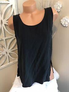 Eileen Fisher Size Medium 100%Silk Black Tank Top