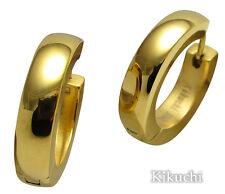 Edelstahl Ohrringe Creolen 24k Gold pl. Hochglänzen 22mmØ XL groß Herren Damen