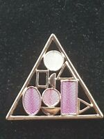 Vintage 1970s/80s Triangle geometric  Design purple & pink Enamel Brooch