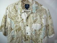 MENS TAN IVORY WHITE AQUA BLUE LINEN CARIBBEAN JOE HAWAIIAN SHIRT SIZE L 50