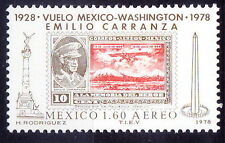 Mexico 1978 MNH, Emilio Carranza, Aviator, Stamps on Stamps, Airplanes