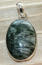 Serafinite from Russia Precious Stone Pendant in 925 Silver,Oval,Green,Jewelry