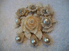 IAN ST GIELAR Exquisite PIN BROOCH Bridal Wht GoldTone