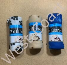 Duke Tiny Ultra Soft Fleece Paw Pet Dog / Cat Blankets Beige White Blue 3 Pack